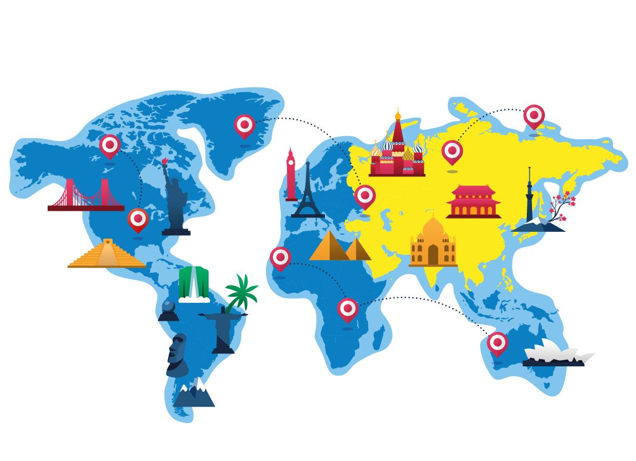 mappa dell'asia trinketto nel mondo